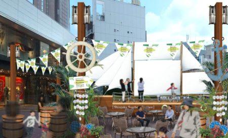 [にぎわいイベント]新宿サザンテラスにラウンジ空間演出として、帆船が登場!