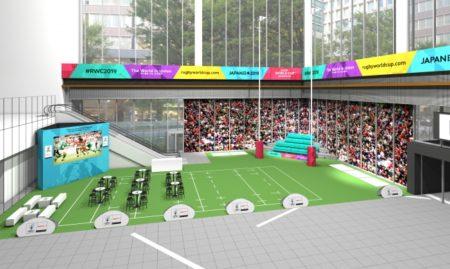 """[にぎわいイベント]ラグビーワールドカップ2019が体験できる""""丸の内ラグビーパーク""""が登場、実物のゴールポストや体験イベントなどを実施"""